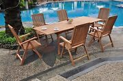 Marley A-grade Teak 7pc Dining 94 Rectangle Table 6 Reclining Folding Arm Chairs