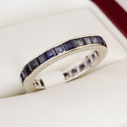 Beautiful Vintage Full Eternity Square Cut Sapphire White Gold Eternity Ring