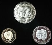 1981 Royal Wedding 3 Medallion Set - 14kt Gold And .925 Silver And Nickel - Caseandcoa