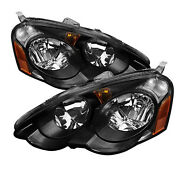 For 02-04 Acura Rsx Dc5 Jdm Black Headlights W/ Amber Reflector Type S Base K20