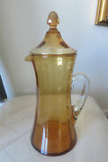 Vintage Stunning Amber Glass Covered Pitcher Clear Handle Paneled Fostoriarare