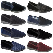 Mens Slippers Velour Fleece Upper Twin Side Gussets Casual Slip-on Warm Shoes