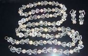 Haskel Massive 54 Inch Long Faceted Crystal Necklace And Clip Earrings 238 Gr