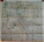 Antique Maps, Stanford's Map Of The Environs Of London, C. 1890
