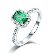Solid 14k White Gold Colombia Emerald And Diamond Wedding Antique Vintage Ring