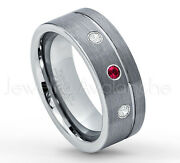 0.21ctw Ruby And Diamond 3-stone Ringpipe Cut Tungsten Band July Birthstone 030