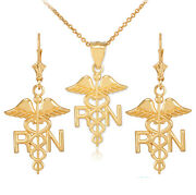 14k Yellow Gold Medical Registered Nurse Pendant Necklace And Matching Earrings
