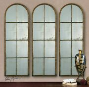 Three Arched 50 French Farmhouse Industrial Wall Antiqued Mirror Uttermost