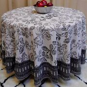 Handmade 100 Cotton Elegant Floral Tablecloth 90 Round White And Shades Of Gray