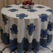 Cotton Tuscan Style Floral Tablecloth Round 90 Inches Rich Blue Green White