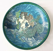 Mid Century Scandinavian Hand Painted Pottery Plate w/ Mermaid Signed WSL 1974