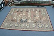 Antique Thai Burma Embroidery Kalaga Sequin Tapestry Pictorial Myanmar 54 X 82