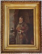 Excellent 19th C. Continental O/c Painting Monk W/ Beer Stein And Vegetables