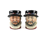 2pc Royal Doulton Beefeater D6233 Small 3 1/2 Toby Jugs Gr An Er Royal Cipher