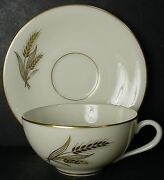 Lenox China Wheat R442 Pattern Demitasse Cup And Saucer Set - 1-5/8 - Blue Stamp