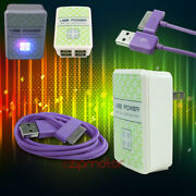 100x 4 Usb Port Wall Adapter+3ft Cable Charger Sync Purple For Iphone Ipod Ipad