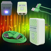 100 Lot 4 Usb Port Wall Adapter+6ft Cord Charger Sync Green For Iphone Ipod Ipad