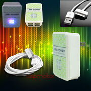 100 Lot 4 Usb Port Wall Adapter+3ft Cord Charger Sync White For Iphone Ipod Ipad
