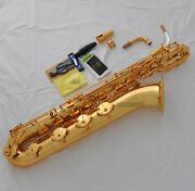 Professional Taishan Gold Baritone Saxophone Sax Low A Germany Mouth With Case