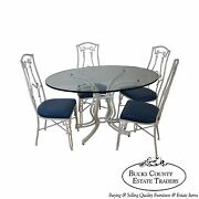 Vintage White Faux Bamboo Cast Aluminum Glass Top Dining Table And 4 Chair Set