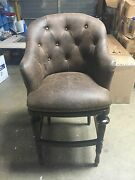 Frontgate Boswell Bar 30 Seat Height Stool Chair Leather Kitchen Wood
