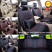 Pu Leather Car Seat Cover Auto 5-seat Mat Front+rear Cushion All Season Pillow