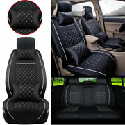 Us Auto Car Seat Cover Front And Rear Pu Leather 5-seats W/pillow Size L 4 Seasons
