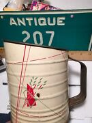 Vtg Tin Painted Sift Screen Flour Country Farm Kitchen Tool Sifter Floral Decor