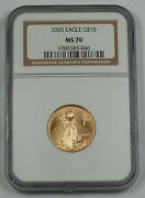 2003 10 1/4 Oz American Gold Eagle Coin Ngc Ms-70 Age