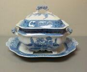 Rare Early Spode's Camilla Blue Soup Tureen And Matching 17 Tray, C. 1891-1920