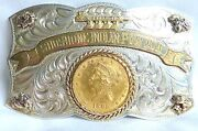 Vintage 925/14kt Natural Nuggets 1895 Gold Piece Shoshonee Pow Wow Buckle I-3688