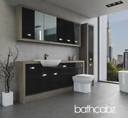 Bathroom Fitted Furniture Black Gloss/driftwood A2 2000mm With Wall And Tall - Bat