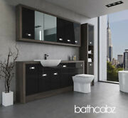 Bathroom Fitted Furniture Black Gloss/mali Wenge A1 2000mm With Wall And Tall - Ba