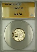 1943-p U.s. Wartime Silver Jefferson Nickel 5c Coin Anacs Ms-66 G