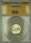 1943-p 5 Steps U.s. Wartime Silver Jefferson Nickel 5c Coin Anacs Ms-66 C