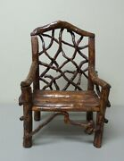 Fabulous 1930's One-of-a-kind Hand Crafted 14 Doll's Country Twig Chair