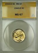 1943-d Wartime Silver Jefferson Nickel 5c Coin Anacs Ms-67 Lightly Toned B