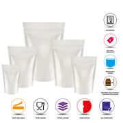White Shiny Stand Up Pouches Mylar Foil Bag Heat Seal Food Grade Zip Lock Bags
