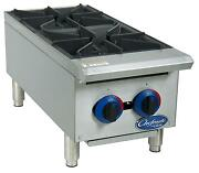 Globe C12ht 12 Chefmate Gas Hot Plate 2 Burners With Manual Controls