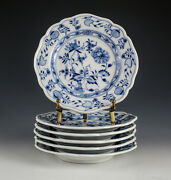 6pc Meissen Blue Onion Bread Butter Plates Oval Backstamp, Blue On White