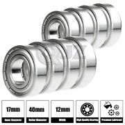 8x 6203-zz Ball Bearing 17mm X 40mm X 12mm Double Shielded Rubber Seal New