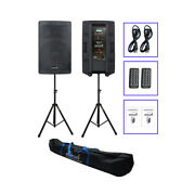 2 Pack 15 Active Pa Speakers Heavy Steel Stands Carry Bag 4000w Powered Speaker