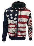 Menand039s Zip Up Hoodie Top Usa Flag Sweater Navy Adult Size