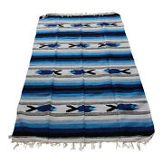 New Blue Sky Dark And White Mexican Fish Theme Floor Rug Large Blanket Throw Yoga