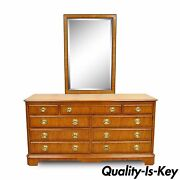 Drexel Heritage Yorkshire Yew Wood Banded Ebony Long Dresser Chest And Mirror