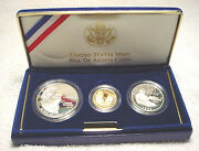 1993 Bill Of Rights 3 Coin Proof Set, W/ Gold And Silver, By Us Mint In Box, Coa