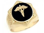 10k Or 14k Real Gold Star Of David Caduceus Doctor Staff Onyx Mens Ring