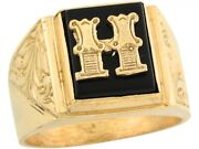 10k Or 14k Real Gold 12x10mm Rectangle Onyx Letter H Fancy Mens Initial Ring