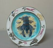 """19th C. ENGLISH WEDGWOOD MAJOLICA ART POTTERY 8.5"""" PLATE, LOBSTER"""