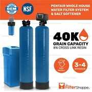 Pentair Whole House Water Filter System And Salt Softener 3-4 Bathrooms - Kdf